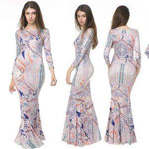 Xuerry Vintage Mermaid Bodycon Maxi Dress